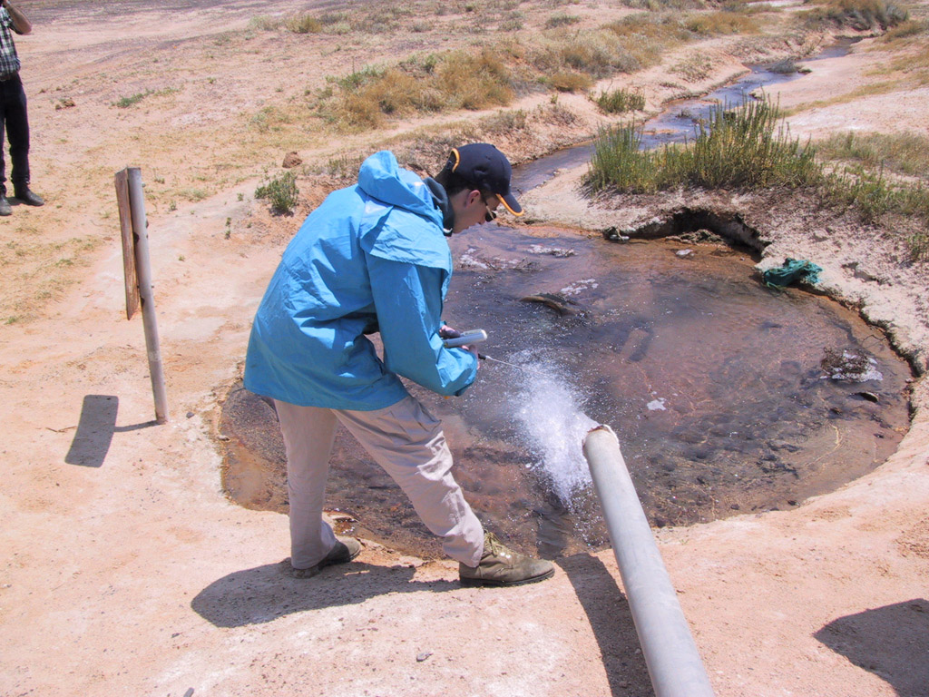 Michael West taking bore samples