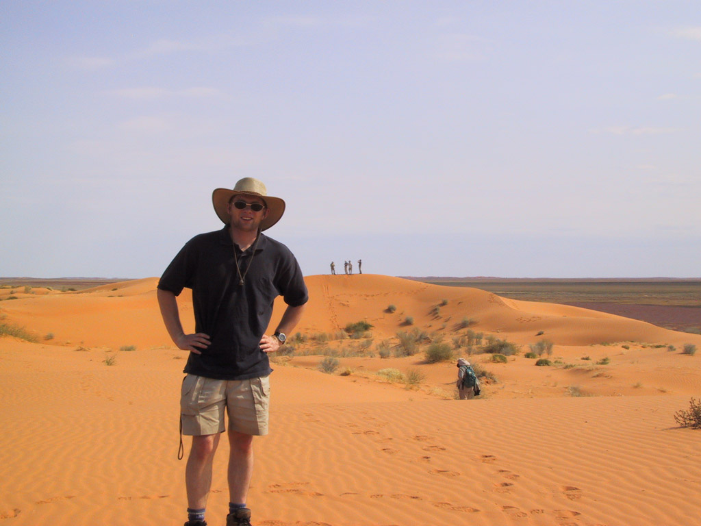 James Waldie on sand dunes