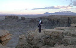 James Waldie on Skyline Rim (Olympus Mons in the background?)
